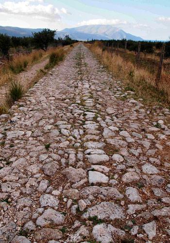 Rigid stone road leading to Dukat